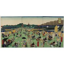 Unknown: Triptych: Street Scene, Meiji period, late 19th century - Harvard Art Museum