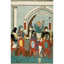 歌川芳員: Foreigners from the Five Nations enjoying a banquet, Late Edo period, circa 1861 - ハーバード大学