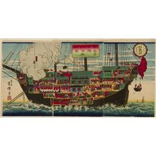Unsen: Triptych: Interior of a German Battleship, published by Masuda, Meiji period, circa 1875 - Harvard Art Museum