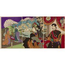 無款: Triptych: Emperor Viewing Flowers, Meiji period, 1887 - ハーバード大学