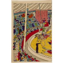 無款: Circus Scene with Changeable Central Acts, Early Meiji period, late 19th century - ハーバード大学