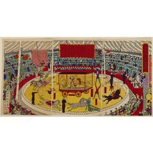 Unknown: Triptych: Circus Scene with Changeable Central Acts, Meiji period, late 19th century - Harvard Art Museum