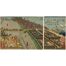 Utagawa Sadahide: Triptych: Detailed Print of Yokohama Hon-chô and the Miyozaki Pleasure Quarter (Yokohama Hon-chô ... ni Miyozaki ... kenkin zu), published by Yamamotoya Heikichi, Late Edo period, fourth month of 1860 - Harvard Art Museum