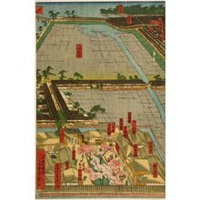歌川貞秀: Detailed Print of Yokohama Hon-chô and the Miyozaki Pleasure Quarter (Yokohama Hon-chô ... ni Miyozaki ... kenkin zu), published by Yamamotoya Heikichi, Late Edo period, fourth month of 1860 - ハーバード大学