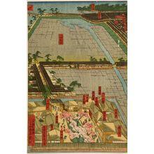 Utagawa Sadahide: Detailed Print of Yokohama Hon-chô and the Miyozaki Pleasure Quarter (Yokohama Hon-chô ... ni Miyozaki ... kenkin zu), published by Yamamotoya Heikichi, Late Edo period, fourth month of 1860 - Harvard Art Museum