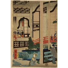 二歌川広重: View of the Interior of the Gankirô Tea House in Yokohama (Yokohama Gankirô no zu), published by Daikokuya Kinnosuke, Late Edo period, fourth month of 1860 - ハーバード大学