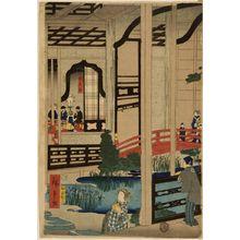 Utagawa Hiroshige II: View of the Interior of the Gankirô Tea House in Yokohama (Yokohama Gankirô no zu), published by Daikokuya Kinnosuke, Late Edo period, fourth month of 1860 - Harvard Art Museum