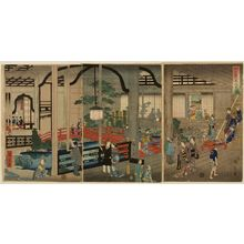 Utagawa Hiroshige II: Triptych: View of the Interior of the Gankirô Tea House in Yokohama (Yokohama Gankirô no zu), published by Daikokuya Kinnosuke, Late Edo period, fourth month of 1860 - Harvard Art Museum