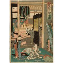 Utagawa Yoshikazu: Foreigners Enjoying Children's Kabuki at the Gankirô Tea House (Yokohama Gankirô kodomo te odori no zu), published by Maruya Jimpachi, Late Edo period, first month of 1861 - Harvard Art Museum
