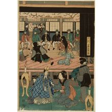 Utagawa Yoshikazu: Foreigners Enjoying Children's Kabuki at the Gankirô Tea House (Yokohama Gankirô kodomo te odori no zu), published by Maruya Jimpachi, Late Edo period, first month of 1861 - Harvard Art Museum