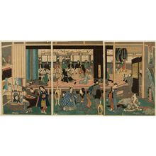 歌川芳員: Triptych: Foreigners Enjoying Children's Kabuki at the Gankirô Tea House (Yokohama Gankirô kodomo te odori no zu), published by Maruya Jimpachi, Late Edo period, first month of 1861 - ハーバード大学