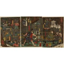 無款: Triptych: Nocturnal Battle in Rain, Late Edo-early Meiji period - ハーバード大学