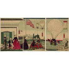 Utagawa Yoshitomi: Triptych: America (Amerikakoku), published by Shimizuya Naojirô, Late Edo period, sixth month of 1867 - ハーバード大学