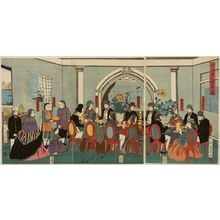 歌川芳員: Triptych: Foreigners from the Five Nations enjoying a banquet, Late Edo period, circa 1861 - ハーバード大学