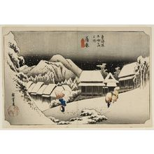 歌川広重: Station 16 -- Night Snow at Kambara (Kambara, yoru no yuki), from the series Fifty-three Stations of the Tôkaidô (Tôkaidô gojûsan-tsugi no uchi), Late Edo period, circa 1833-1834 - ハーバード大学
