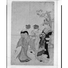 窪俊満: Courtesan and Attendants Beneath Cherry Blossoms, Edo period, circa 1790s - ハーバード大学