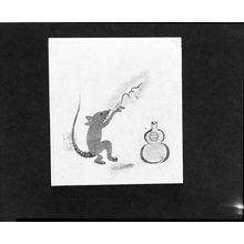 勝川春童: Calendar Print (Egoyomi) of Mouse Drinking Sake, Edo period, late 18th century - ハーバード大学