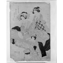 菊川英山: Three Ladies, Late Edo period, circa early to mid 19th century - ハーバード大学