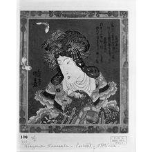歌川国貞: Chinese Princess Chu Lianxiang (So Renkô) with Butterflies, spring kyôka surimono for the Manji Group led by Shinratei Manzô 2nd), Edo period, circa 1825-1829 (late Bunsei era) - ハーバード大学