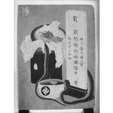 葛飾北斎: Snake Coiled around Offerings, Cup of Water, and Memorial Tablet/ The Implacable Dead, from the series One Hundred Ghost Stories, Edo period, possibly circa 1831-1832 - ハーバード大学