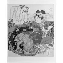 Totoya Hokkei: Courtesan Seated with a Sake Cup/ Edo, from the series History of the Three Kingdoms, Courtesans in Peach Banquet (Sangokushi Tôen yakko), with poems by Fukunairô Mamenari and Fukkaian Namiyoshi, Edo period, - Harvard Art Museum