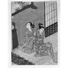 鈴木春信: Evening Bell of the Clock (Tokei no banshô), from the series Eight Parlor Views (Zashiki hakkei), Edo period, circa 1766 (Meiwa 3) - ハーバード大学