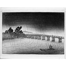 伊東深水: Chinese Bridge at Seta, from the series Eight Views of Lake Biwa (ômi hakkei), Taishô period, dated 1918 - ハーバード大学
