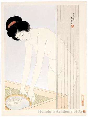 橋口五葉: Woman preparing to wash her face - ホノルル美術館 - 浮世絵検索