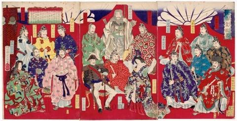 豊原周延: Genealogy of the Japanese Emperor - ホノルル美術館