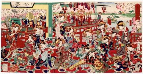 Toyohara Chikanobu: The Height of Prosperity (Treasure Competition) - Honolulu Museum of Art