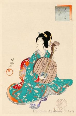 豊原周延: Moon Guitar - ホノルル美術館