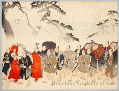 Toyohara Chikanobu: Imperial Procession at Ueno - Honolulu Museum of Art