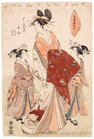Hosoda Eishi: Senzan of Chöji-ya with Two Attendents: Isoji and Yasoji - Honolulu Museum of Art