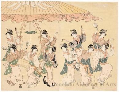 細田栄之: Ten Women dancing under a large umbrella (descriptive title) - ホノルル美術館