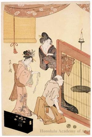 Hosoda Eishi: Two Ladies and Man (descriptive title) - Honolulu Museum of Art