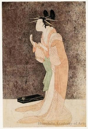 細田栄之: Misayama of the Chöji-ya Brothel House in Her Dressing Room - ホノルル美術館