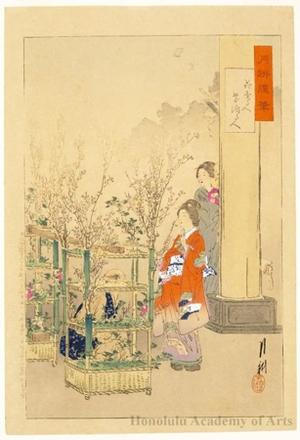 Ogata Gekko: Flower Seller and Woman Arranging Flowers - Honolulu Museum of Art