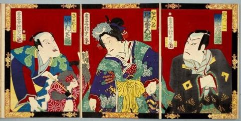 安達吟光: Bandö Hikosaburö as Yakkko, Onoe Kikugorö as Female Daimyö, and Nakamura Shikan as Monkey Entertainer - ホノルル美術館
