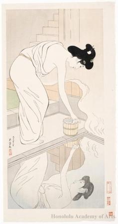 橋口五葉: Woman in the bath - ホノルル美術館