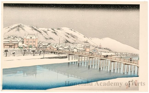 橋口五葉: Kyoto Sanjö Bridge - ホノルル美術館