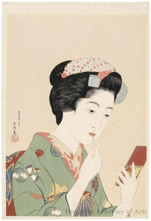 Hashiguchi Goyo: Woman with rouge brush - Honolulu Museum of Art
