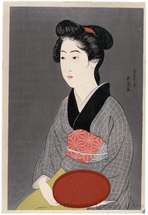 Hashiguchi Goyo: Woman Holding a Tray - Honolulu Museum of Art