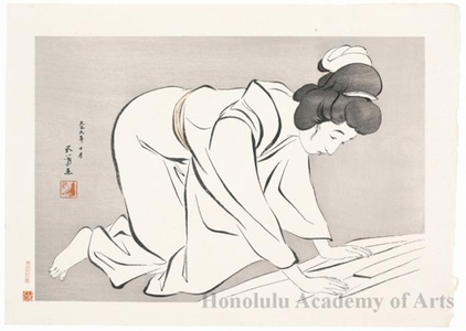 Hashiguchi Goyo: Woman Folding Kimono - Honolulu Museum of Art