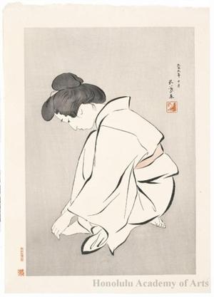 橋口五葉: Woman Clipping Her Toe Nails - ホノルル美術館