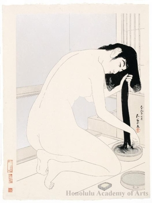 Hashiguchi Goyo: Woman Kneeling in the Bath and Combing Her Hair - Honolulu Museum of Art