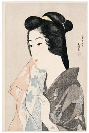 橋口五葉: Woman with a Hand Towel - ホノルル美術館