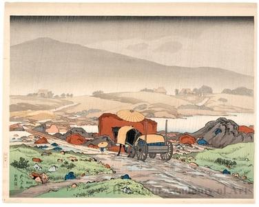 橋口五葉: Rain at Yabakei Valley, Kyüshü - ホノルル美術館