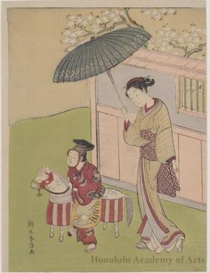 鈴木春信: Boy on a Hobby Horse - ホノルル美術館