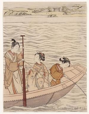 鈴木春信: Fishing near Mimeguri Shrine on the Sumida River - ホノルル美術館