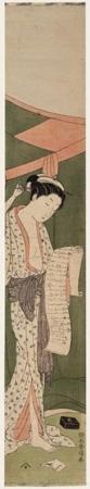 鈴木春信: A Beauty Reading a Letter Outside Mosquito Netting - ホノルル美術館